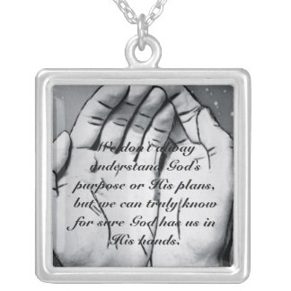 In God's Hands Silver Plated Necklace