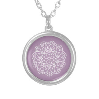 In intricate lace-inspired geometric floral design silver plated necklace