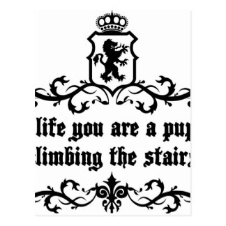 In Life You Are A Puppy Climbing The Stairs Postcard