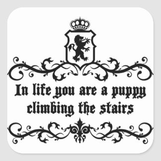 In Life You Are A Puppy Climbing The Stairs Square Sticker