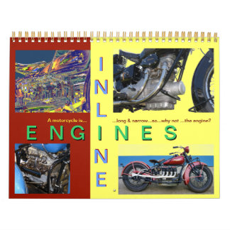In Line Motorcycle Engines Wall Calendars