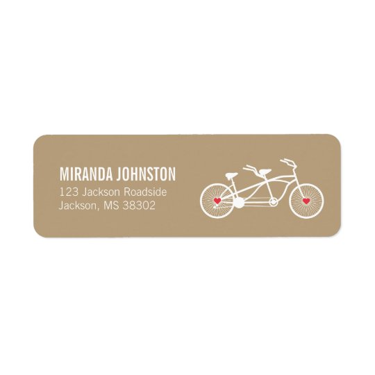 In love- Brown Bicycle  Wedding Address Labels