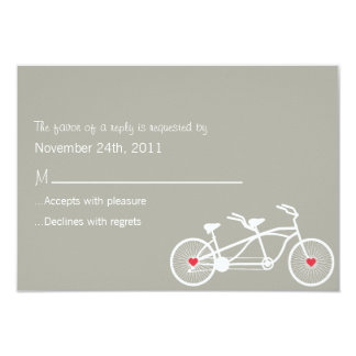 "In love- Gray Bicycle Design  RSVP Cards 3.5"" X 5"" Invitation Card"