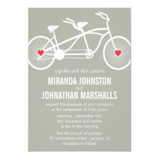 In love- Gray Bicycle Design Wedding Invitations