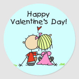 In Love Happy Valentine's Day Classic Round Sticker
