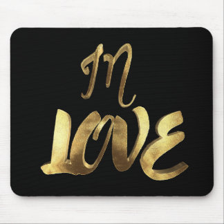 In Love Quote Black Gold Typography Romantic Mouse Pad