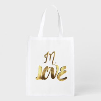 In Love Quote Gold Look Typography Romantic Script Reusable Grocery Bag