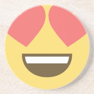 In love smiley emoji coaster