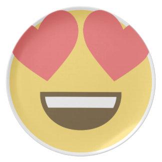 In love smiley emoji plate
