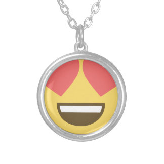 In love smiley emoji silver plated necklace