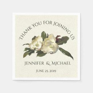 In Love - Vintage Magnolia Floral Wedding Custom Disposable Napkins
