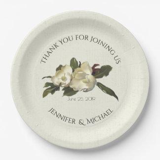In Love - Vintage Magnolia Floral Wedding Custom Paper Plate