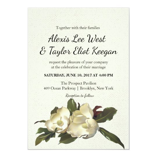 In Love - Vintage Magnolia Flowers Floral Wedding Card