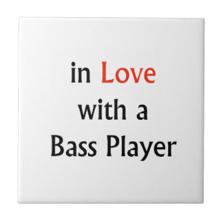 In Love With A Bass Player Red n Black Text Ceramic Tiles