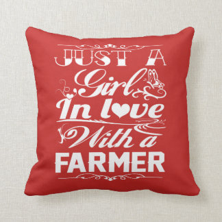 In love with a farmer throw pillow