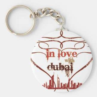 In Love with Dubai Basic Round Button Keychain