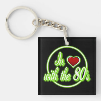 In Love With The 80's Retro Green Logo Key Chain. Double-Sided Square Acrylic Keychain