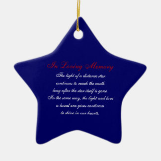 In Loving Memory America Stars and Stripes Plaid M Ceramic Ornament