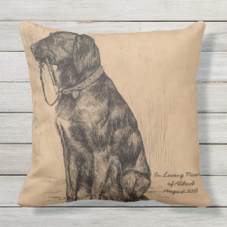In Loving Memory Dog holding his own leash Throw Pillow
