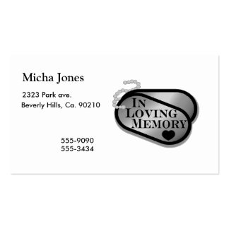 In Loving Memory Dog Tags Business Card