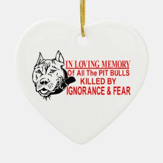 IN LOVING MEMORY OF PIT BULLS CERAMIC HEART ORNAMENT