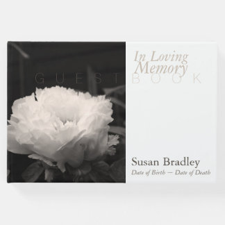 In Loving Memory Peony Funeral White Guest Book