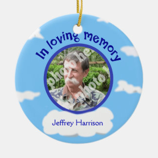 In Loving Memory Personalized Photo Sky Memorial Ceramic Ornament
