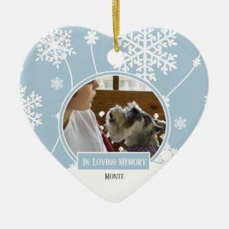 In Loving Memory Pet Photo Christmas Heart Ceramic Ornament