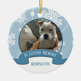 In Loving Memory Pet Photo Snowflakes Christmas Ceramic Ornament