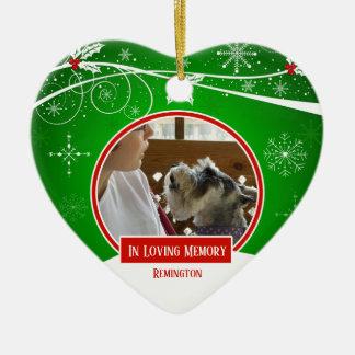 In Loving Memory Pet Red Green Christmas Heart Ceramic Ornament