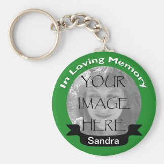 In Loving Memory Photo Green Key Chain