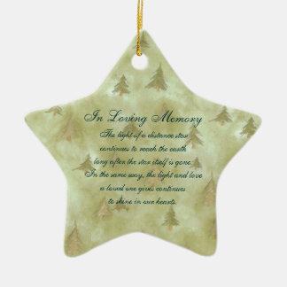 In Loving Memory Pine Fir Trees Death Memorial Ceramic Star Ornament