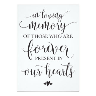 In Loving Memory Remembrance Wedding Ceremony Sign Card