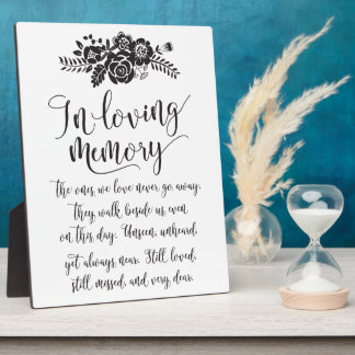 In Loving Memory Remembrance Wedding Ceremony Sign Plaque