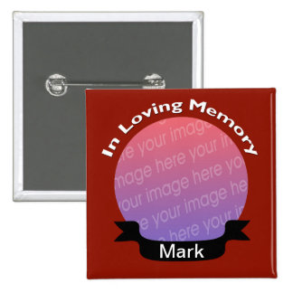 In Loving Memory Square Photo Button Red