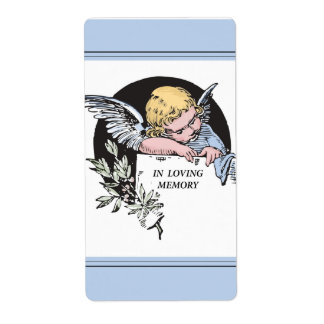 In Loving Memory Vintage Angel Remembrance on Blu Shipping Label
