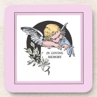 In Loving Memory Vintage Angel, Remembrance on Pin Coaster