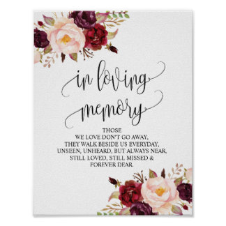 In loving memory Wedding Memorial Table Sign v10