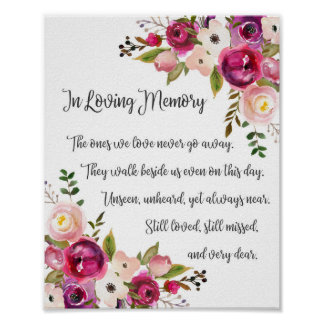 In Loving Memory Wedding Sign Watercolor Florals