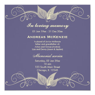 "In Memoriam 5.25"" Square Invitation Card"