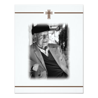 "In Memoriam Crucifix Cross Death Notice Photo 4.25"" X 5.5"" Invitation Card"