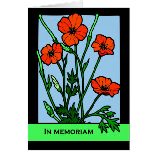 In Memoriam, Red Poppies, Loving Memories Verse Card