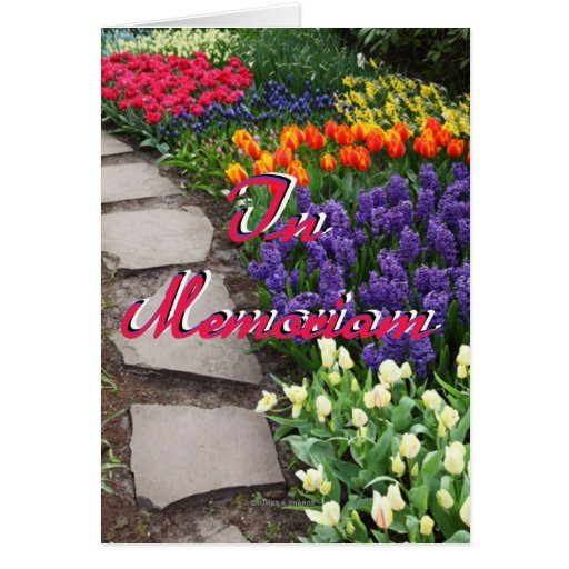 In Memoriam Stone Path Through Garden Of Flowers Greeting Cards