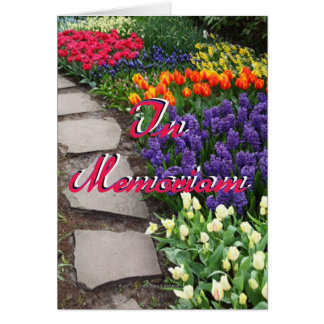 In Memoriam Stone Path Through Garden Of Flowers Greeting Card