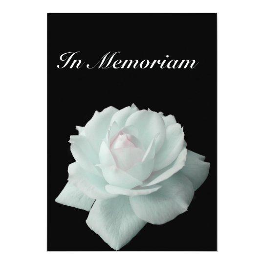 In memoriam white rose on black invitation for In memoriam cards template
