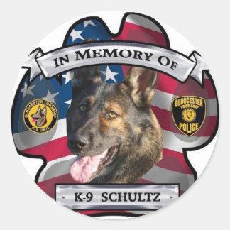 In Memory of K-9 Schultz Classic Round Sticker