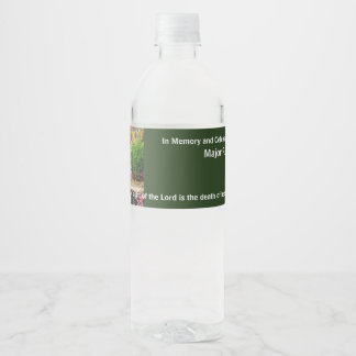 In Memory Of Memorial Funeral Celebration of Life Water Bottle Label