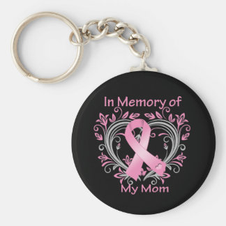 In Memory of My Mom Breast Cancer Heart Basic Round Button Keychain