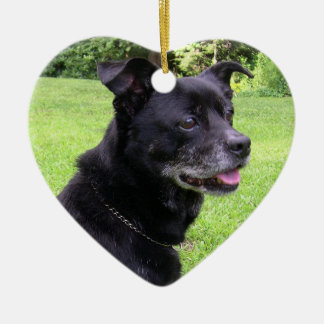 In Memory of Pets at Christmas Ceramic Heart Ornament
