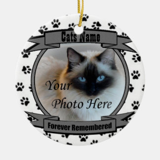 In Memory of Your Cat Forever Remembered - Pet Round Ceramic Ornament